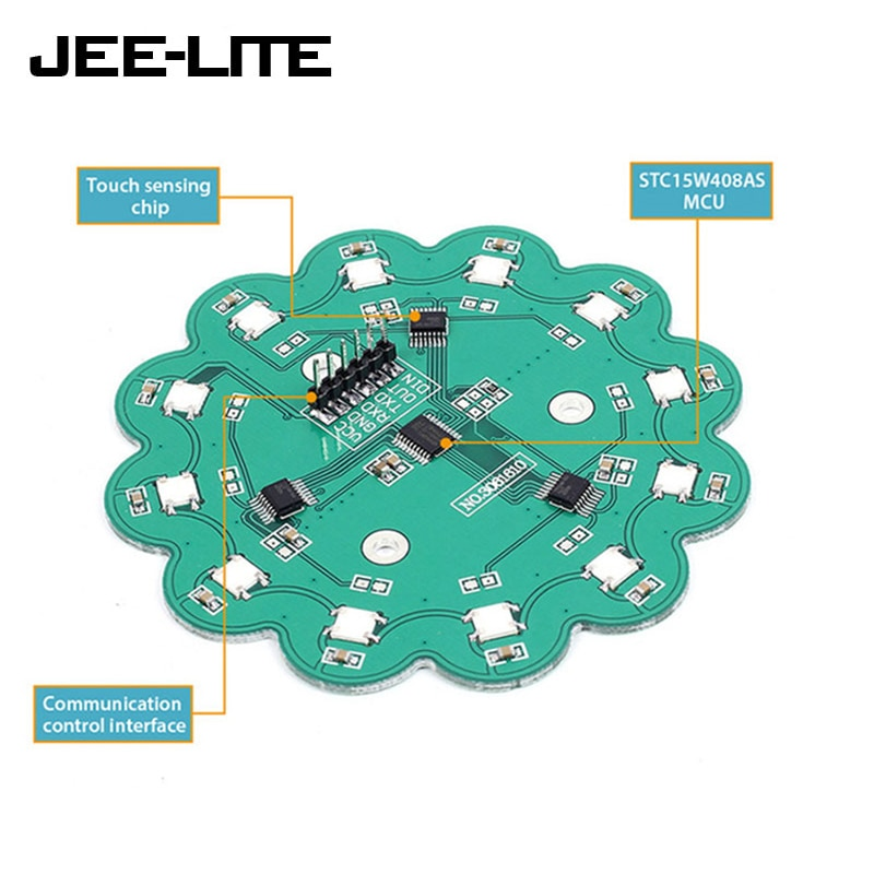 RGB LED de lámpara botón táctil capacitiva WS2812B TTP224 DIY agua módulo de luz para Arduino AVR LED integrado conductor
