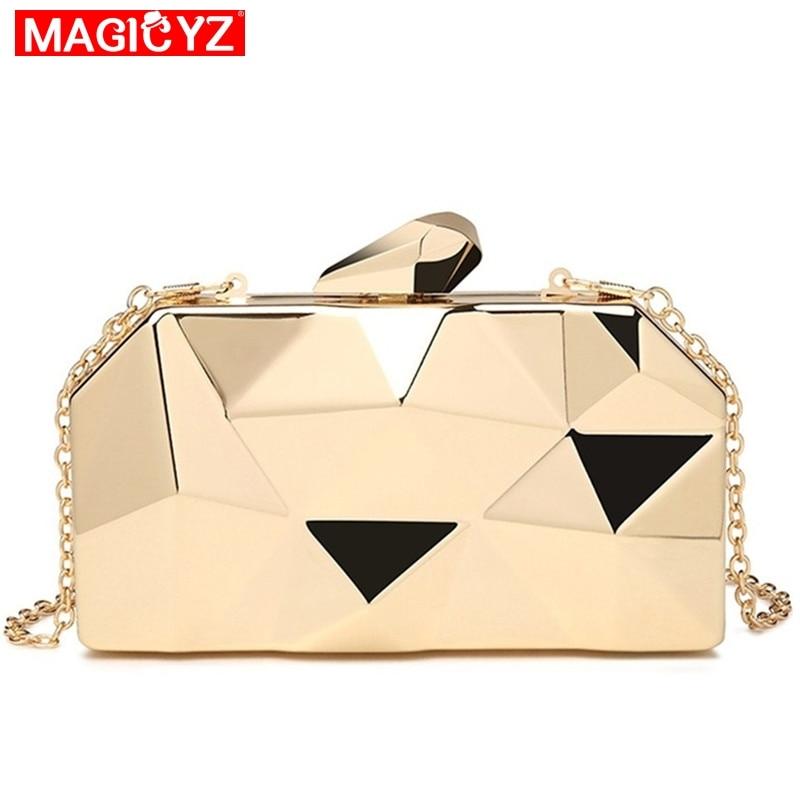 AliExpress - MAGICYZ Gold Acrylic Box Geometry Clutch Evening Bag Elegent Chain Women Handbag For Party Shoulder Bag For Wedding/Dating/Party
