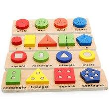 Géométrique Fraction couleur Puzzle géométrique correspondant conseil Puzzle éducatif en bois jouets pour enfants cadeau danniversaire ME2344H