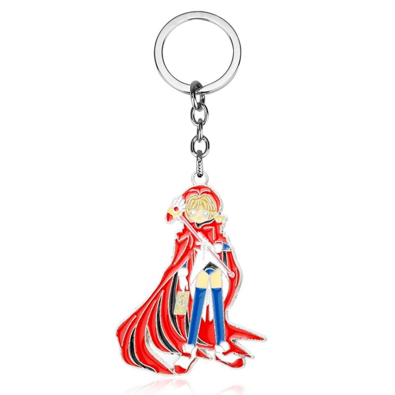 MQCHUN Cardcaptor llavero de sakura Anime tarjeta Captor llavero de sakura de dibujos animados figuras de dibujos animados clave anillo cadena titular regalo de la joyería-5