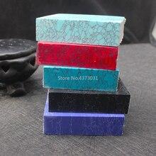 1 pièce Turquoise artificielle pour bricolage couteau poignée matériel, bricolage en plein air poignée en pierre de pin feuille décorative 65x65x10mm