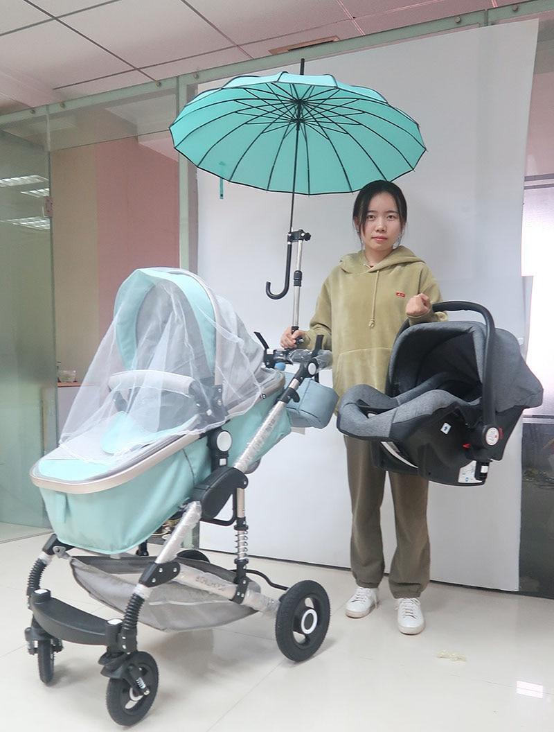 Hot mom Baby Stroller 3 in 1+ Car Seat+Sun umbrella Aluminum alloy high landscape Folding Shock For newborn two-way Baby Trolley