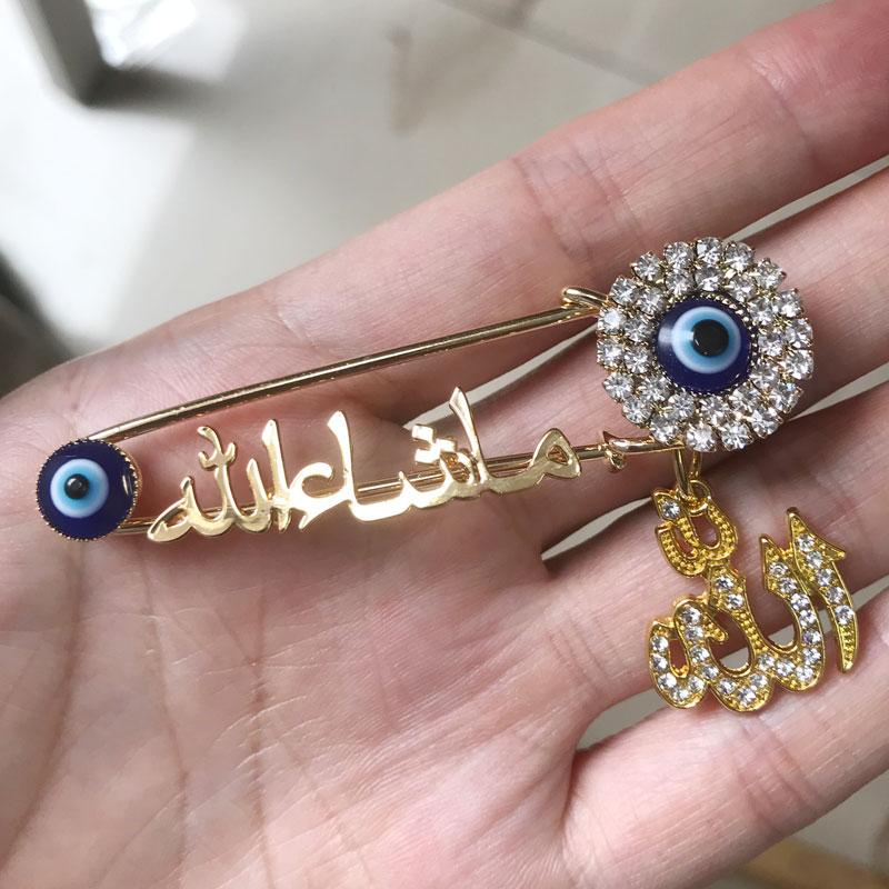 ALLAH Mashallah árabe Turco evil eye aço Inoxidável broche pin bebê