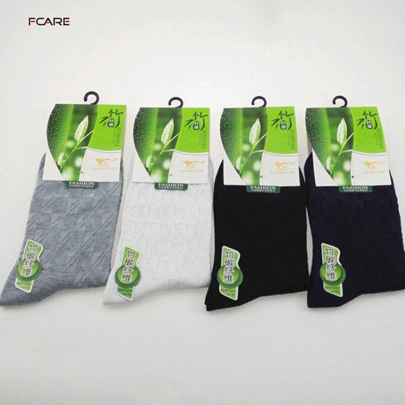 Fcare 10 шт. = 5 пар бамбуковых волокон, белые, черные, серые, темно-синие, sokken calcetines hombre meias masculino, мужские носки в клетку