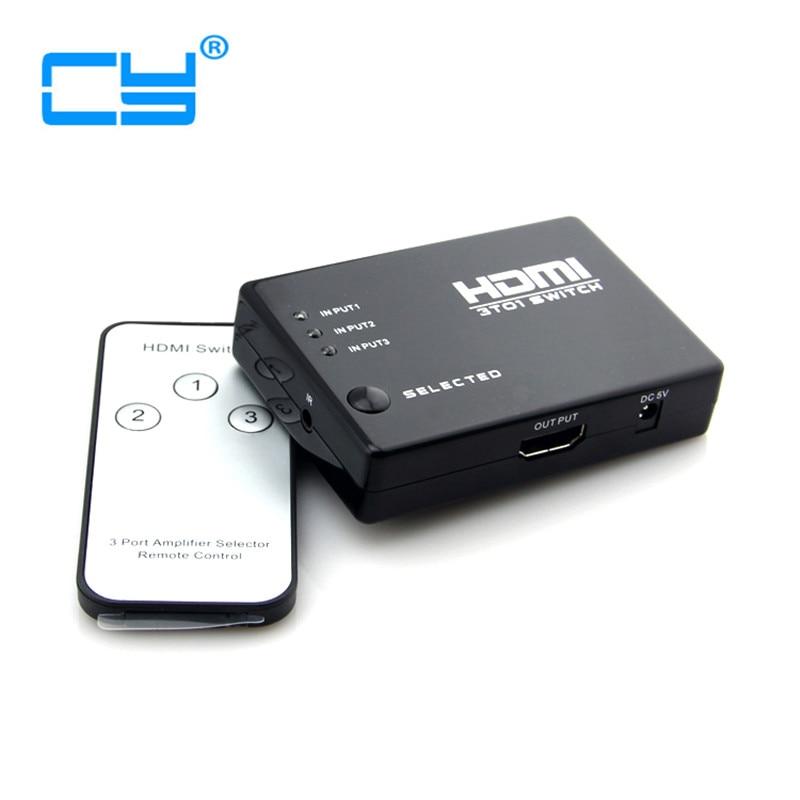 3 منافذ HDMI 1.3b 1080p HDTV الفاصل سويتش 3x1 مفتاح تلقائي 3 في 1 مع محدد عن بعد