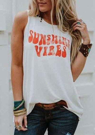 Moderna camiseta sin mangas para mujer, camiseta veraniega para mujer, camiseta Sunshine Vibes con letras estampadas, cuello redondo, camiseta sin mangas informal para mujer