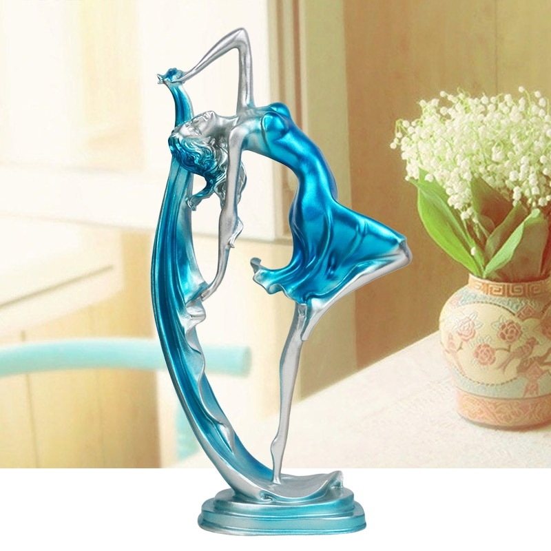 Estatua de bailarina de resina para baile, figura elegante, artesanía, decoración creativa de escritorio para el hogar, adornos para baile y chicas