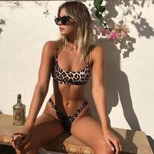 Léopard string maillot de bain femmes 2019 Sexy Bikini ensemble imprimer Push up maillots de bain femme brésilienne Bikini ensemble Biquini maillot de bain