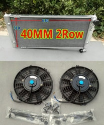 40 мм 2row гоночный алюминиевый радиатор + вентиляторы для Volkswagen VW Golf 2 & Corrado VR6 & 16 V G60 VWO2 Turbo руководство