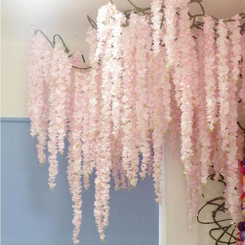 88cm Cherry blossom Vine Sakura Artificial flowers for party Wedding ceiling decoration wall Hanging rattan fleur artificielle