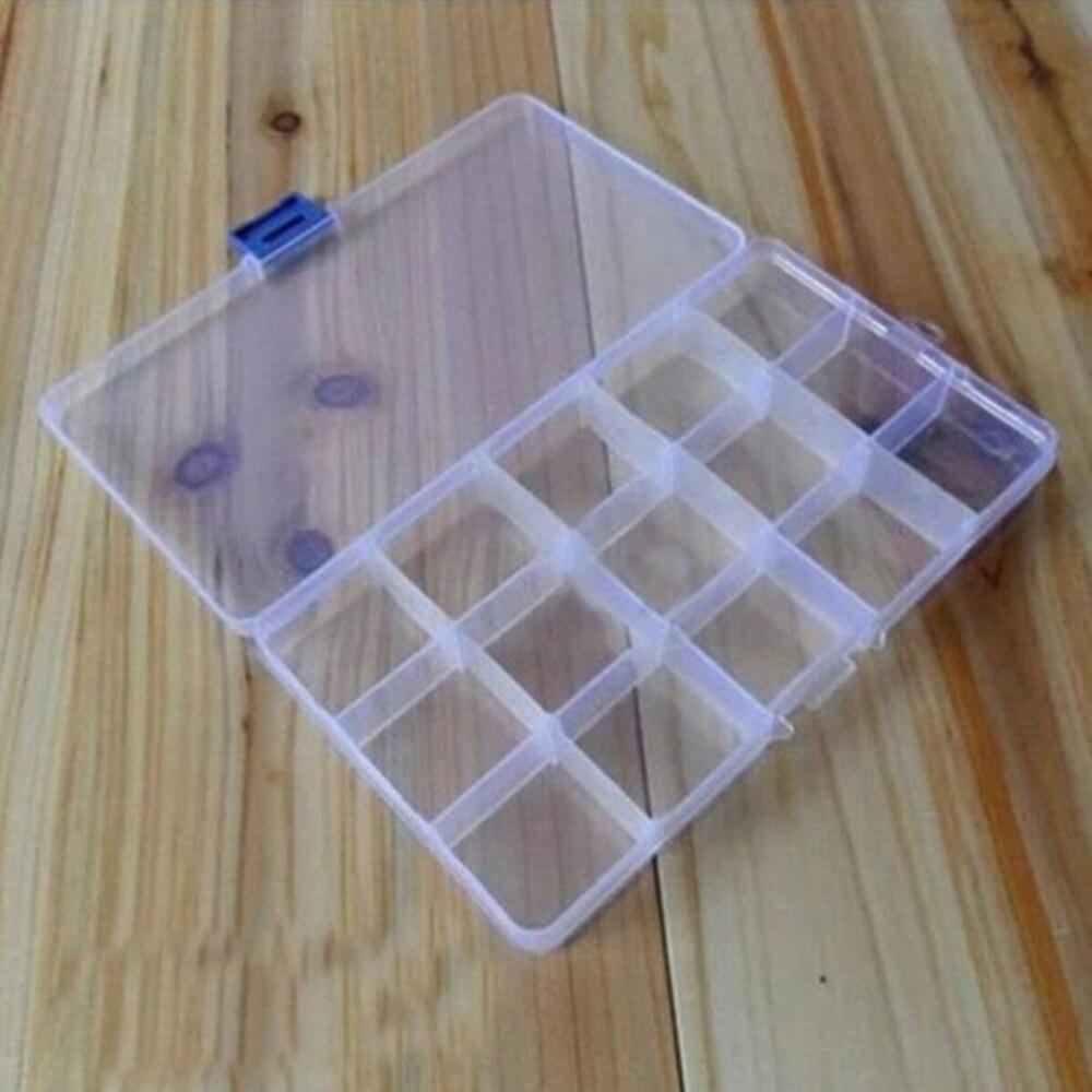 Caja de almacenamiento creativa de 15 rejillas con separadores extraíbles, caja organizadora de plástico transparente para guardar joyas y objetos de valor