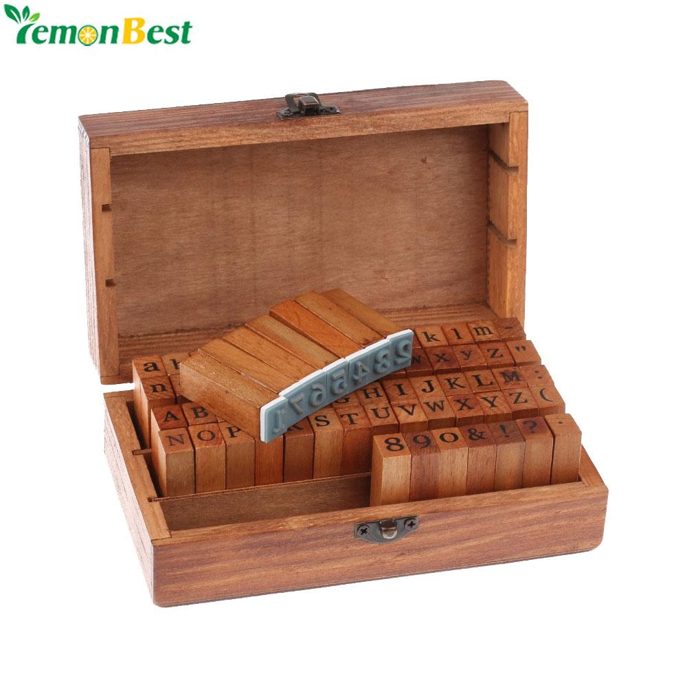 Novo 70 pçs diy carta alfabeto selo vintage ensinar alfabeto de madeira e número selos conjunto com caixa de madeira