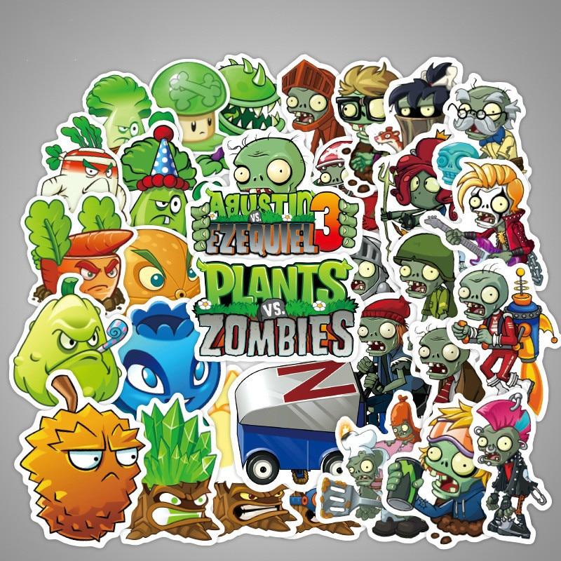 50/100 шт/набор Растения против Зомби наклейки на стену Горячая мобильная игра PVZ мини Пузырьковые наклейки для детей канцелярские игрушки наклейки