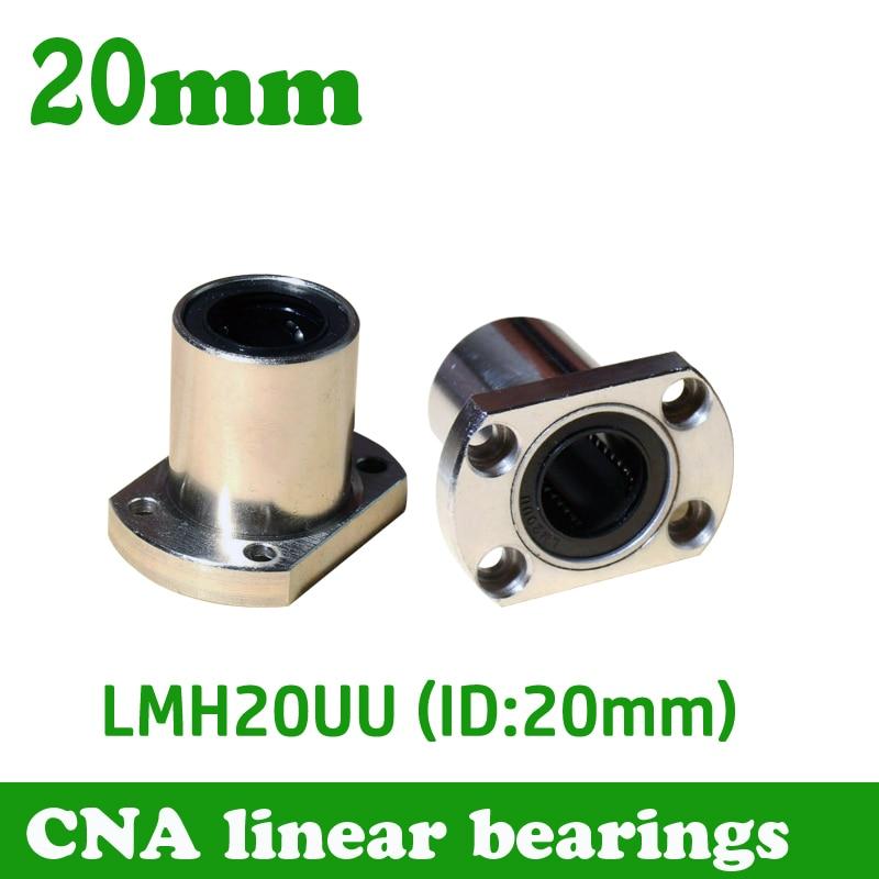 2pcs/lot Free shipping LMH20UU 20mm flange linear bearing CNC Linear Bush LMH20