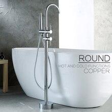 Современный Смеситель для ванной с одним держателем и двойным управлением, напольный кран для ванной Gappo
