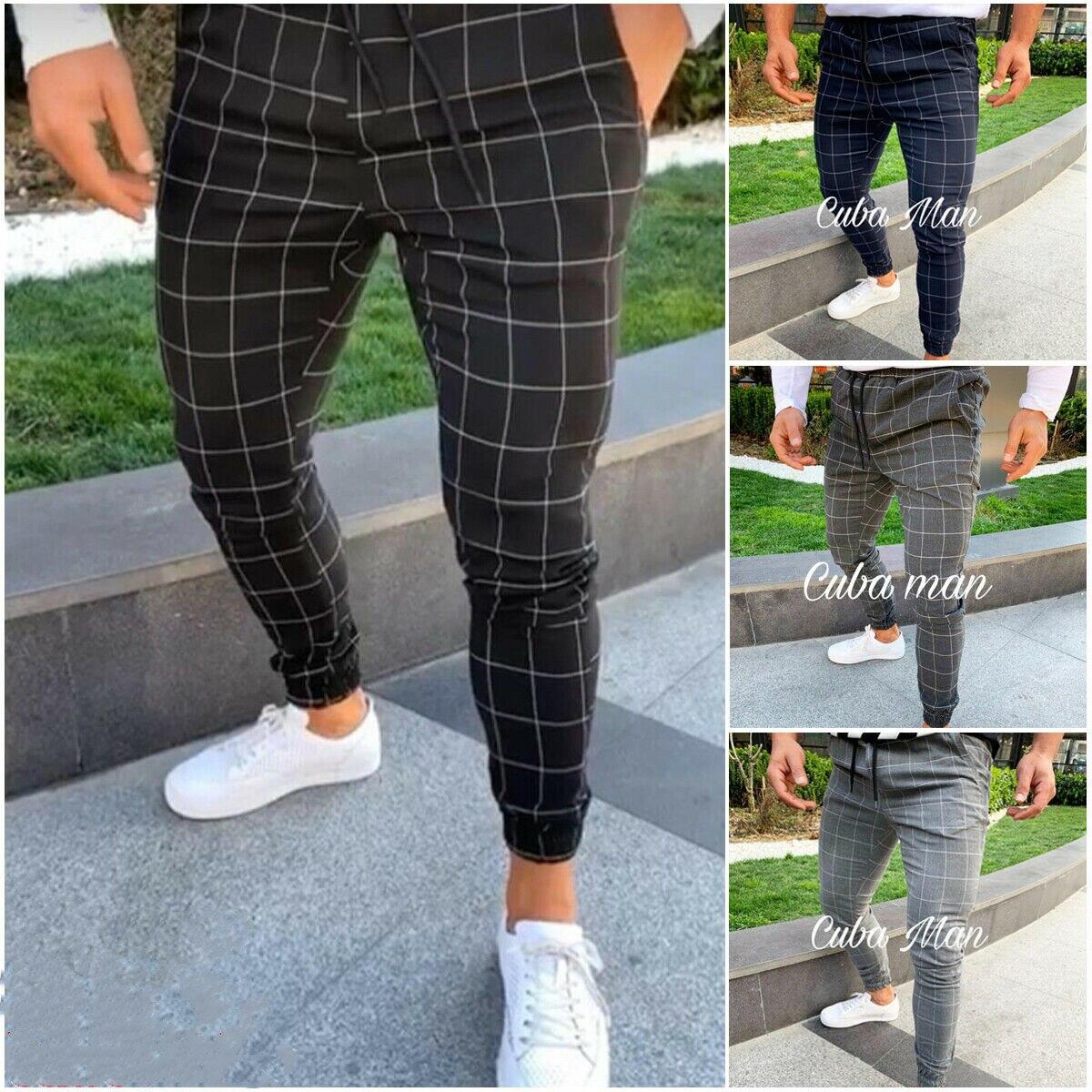 ¡Novedad de 2019! Pantalones de chándal de sarga a cuadros para hombre, pantalones urbanos de Hip Hop Harem, pantalones informales ajustados
