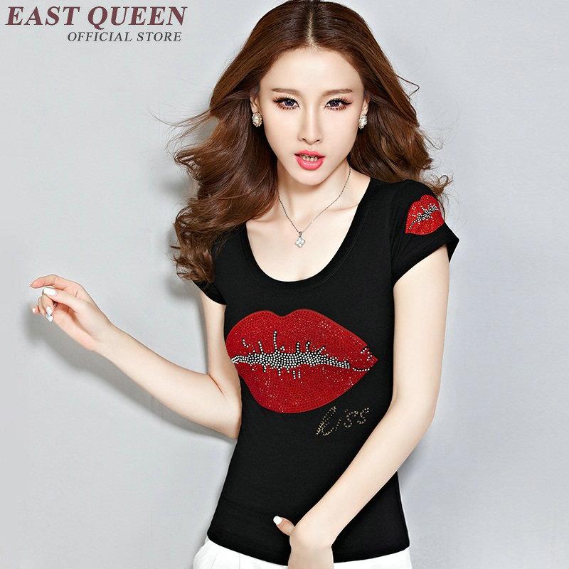 fashion tops 2018 women 2018 summer woman shirts lips print teeshirt women   KK904 H