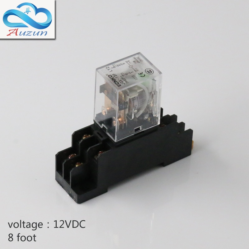 Hh62P-petit relais 12 v cc   base de relais intermédiaire avec contact argent, courant 10A huit pieds 10 pièces