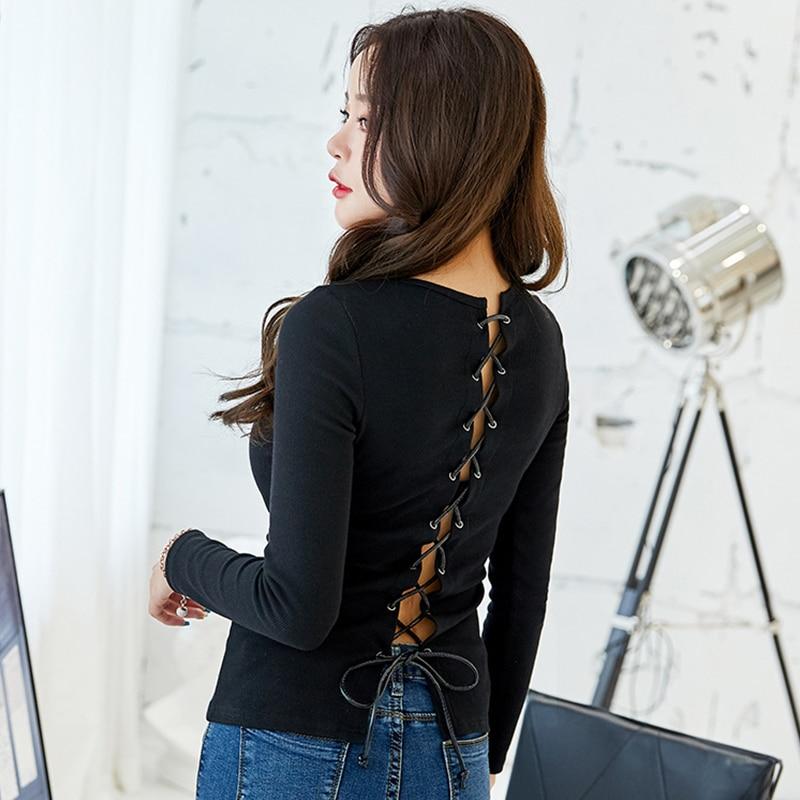 Camiseta oukysha Vintage Womon otoño 2018 nuevas camisetas sexis con encaje Floral en la espalda camiseta negra manga larga ahuecada camisas femeninas S1507917