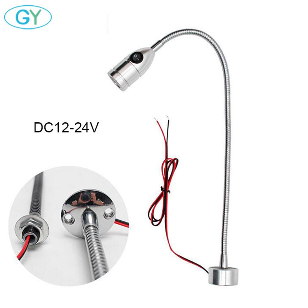 3W DC12V 24V LED CNC máquina herramienta luz Flexible L40cm cuello de cisne led taller Lámpara de trabajo plata negro magnético industrial