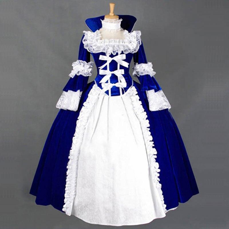 18th century gótico vitoriano lolita vestidos retro azul e vermelho longo flare fase bola vestidos para a menina personalizado teatro traje