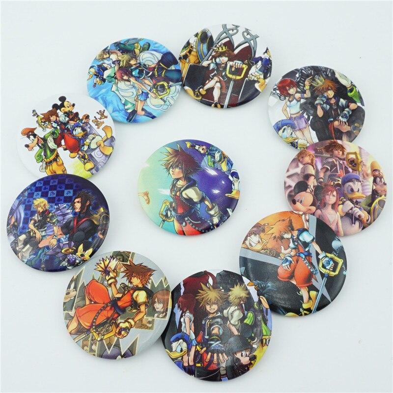 10 Pçs/set Anime Kingdom Hearts Sora Figura Ornamento Pins Broches Emblemas No Peito Saco de Roupas Cosplay Itabag Accessoies Presente novo