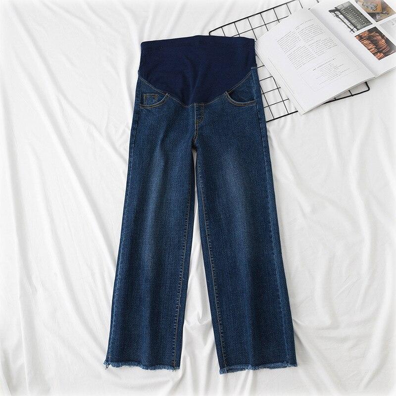 Pregnant Clothes Women Causal Wide Leg Denim Pants Pregnancy Loose Elastic Waist Trousers Pockets Plus Size Baggy Bottoms enlarge