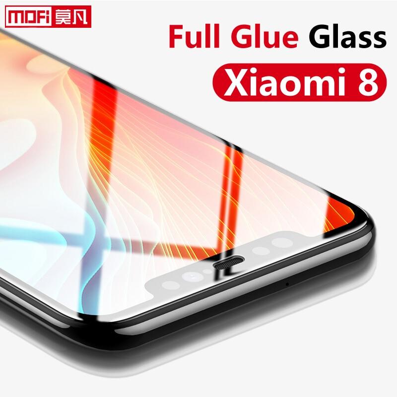 Protector de pantalla para Xiaomi mi 8 vidrio templado 9H 2.5D Mofi pegamento total original cubierta completa Pre mi um Xiaomi mi 8 Vidrio Templado