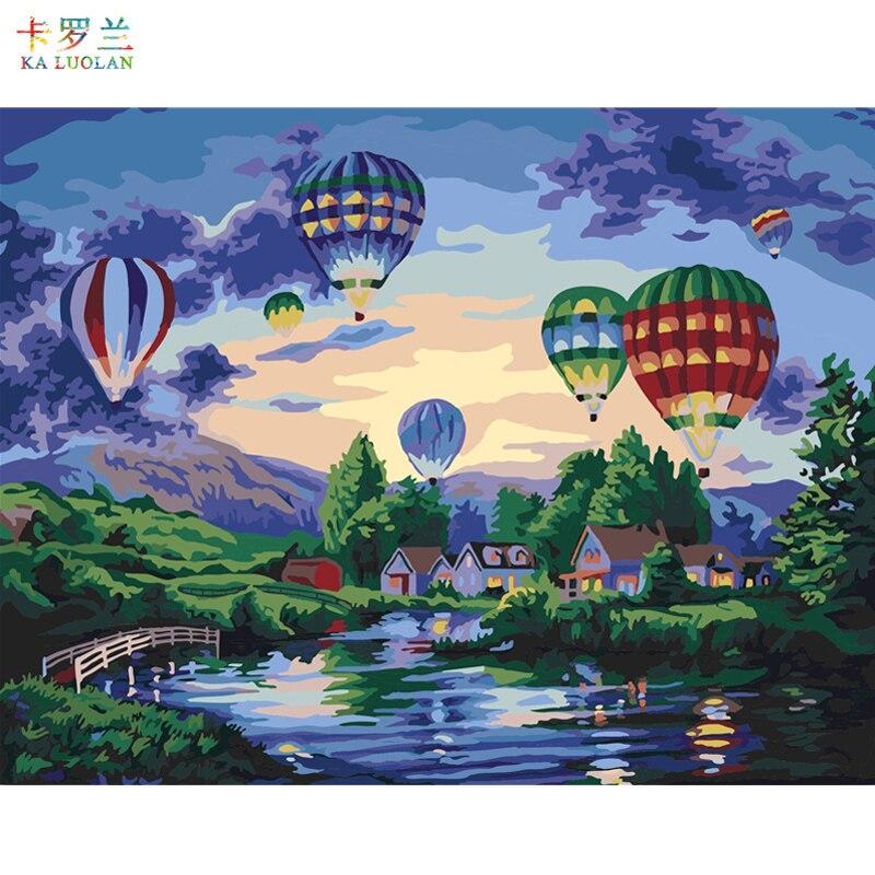 Quadros sem moldura pintura por números pintura a óleo digital sobre tela decoração para casa 40x50cm-balão de ar quente e169