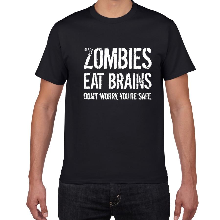 Zombies Eat Brains letter Men's T-shirts summer casual funny cotton t shirt men streetwear Tshirt harajuku top tee men clothes