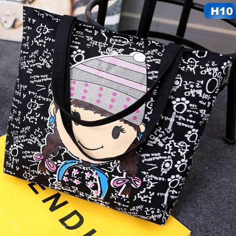 Bolsa grande de lona negra, tela de algodón, bolsa de compras reutilizable, bolsos de playa para mujer, bolsas de supermercado estampadas con gatos