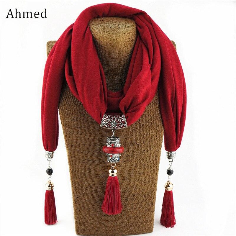 Женское Ожерелье с шарфиком, ожерелье с бусинами и Буддой