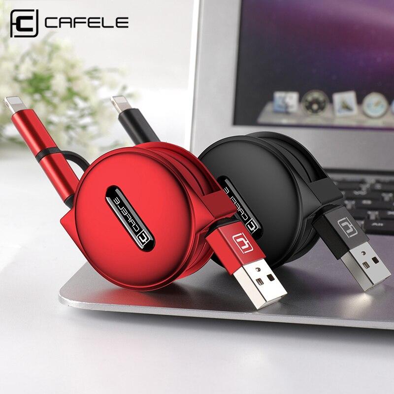 Caja protectora CAFELE 2 en 1 USB retráctil de Cable de carga rápida de para iPhone X Xs X Max 8 6s plus micro usb cable para Samsung xiaomi huawei 100cm