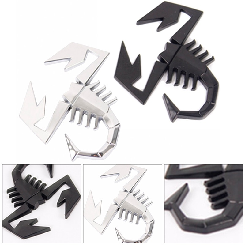 3d metal preto prata forma escorpião emblema adesivo porta do carro paralama tronco decoração traseira do carro adesivos