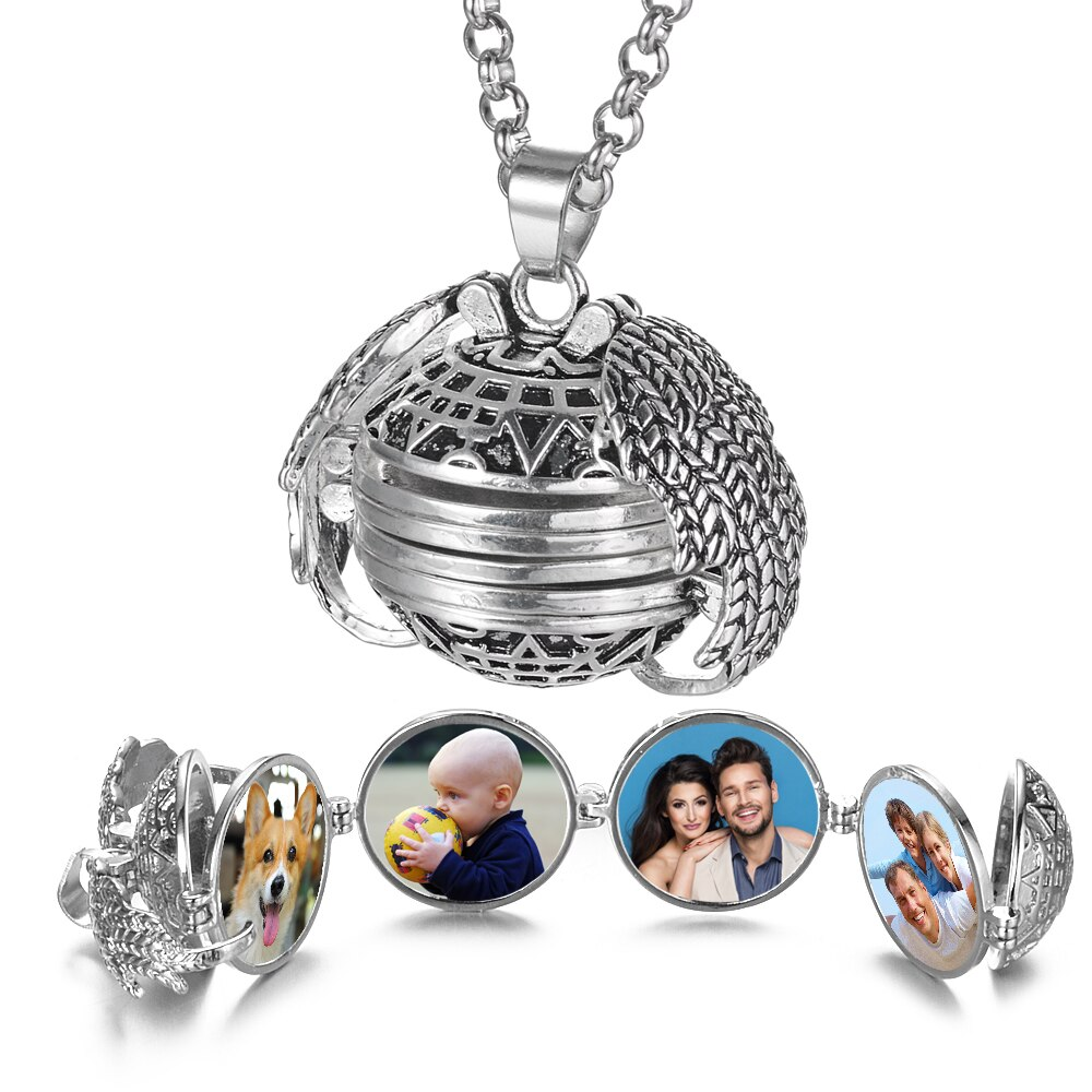Magic 4 фото кулон с памятью плавающий медальон ожерелье крылья Ангела флэш-бокс модный альбом коробка ожерелья для женщин VA-2017