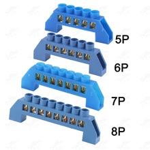 Free Shipping 2 PCS Blue Bridge Design Zero Line 5 6 7 8 Positions Copper Grounding Strip Terminal Block Connector