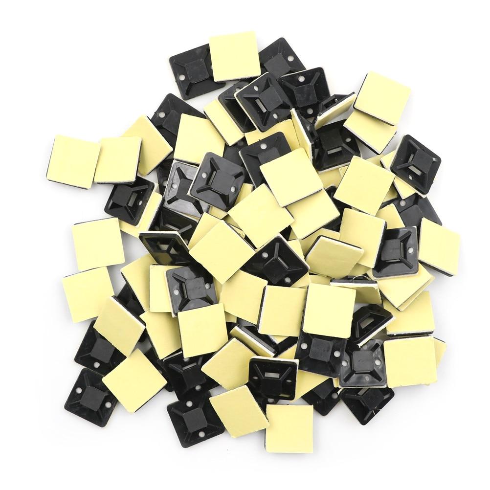 100 Uds. Clip de montaje de soporte de pared autoadhesivo removible de alambre de Cable de coche Zip Tie negro