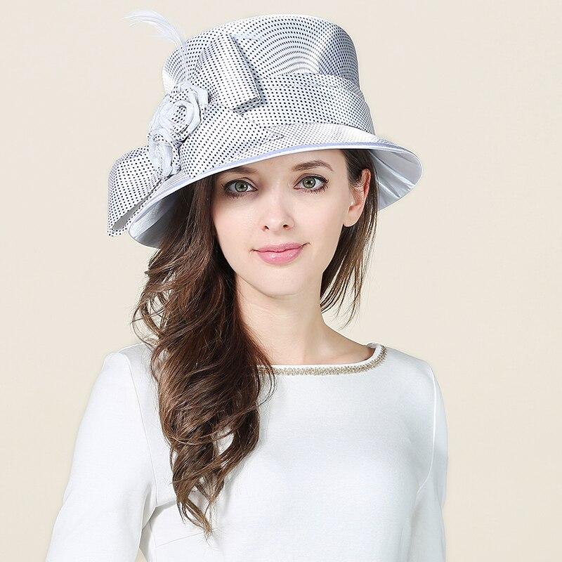 Feminino branco fecoras chapéu meninas sinamay kentucky derby chapéus de linho vestido de casamento chapéus senhoras elegantes aba larga festa boné B-8660