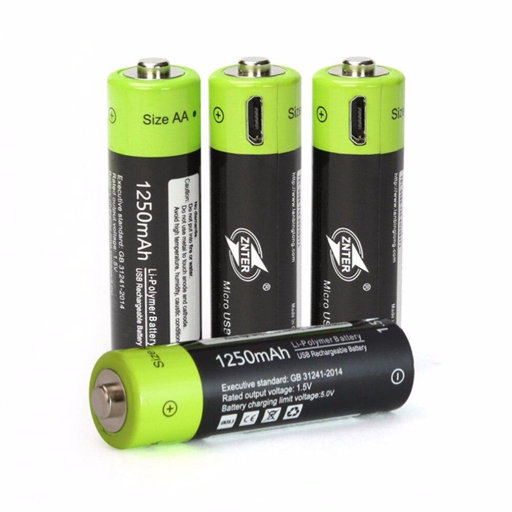 ZNTER 2/4 piezas AA 1,5 V 1250 mAh batería USB de carga rápida batería recargable polímero batería cargada por Micro USB cable
