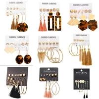 2019 fashion acrylic geometric dangle earrings for women vintage crystal big earrings set female bohemian jewelry