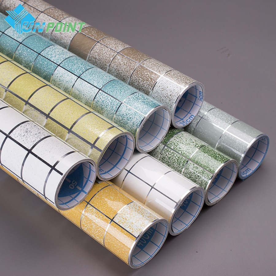mosaic self adhesive wallpaper bathroom waterproof wall sticker kitchen high temperature stickers pvc papel de parede tile decor Self Adhesive Kitchen Oil-Proof Film Stove High Temperature Vinyl Wallpaper Bathroom Toilet Tile Waterproof Mosaic Wall Stickers