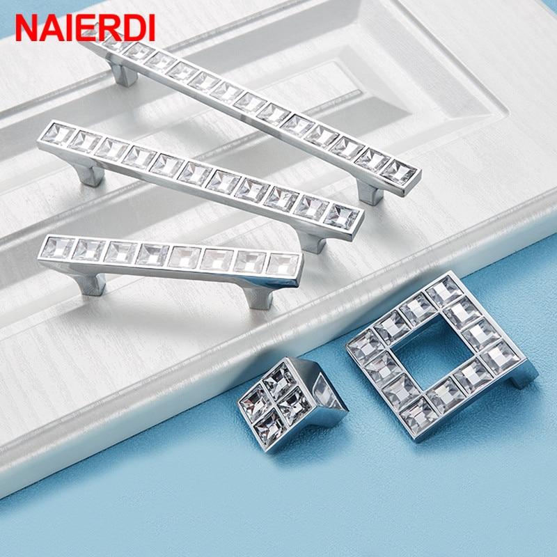 NAIERDI Crystal Glass Knobs Cabinet Handles Silver Cupboard Pulls Drawer Kitchen Furniture Handle Hardware
