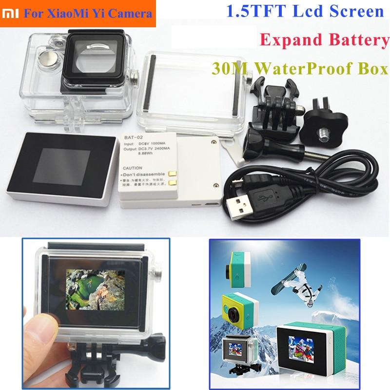 Комплект аксессуаров Suptig 3 в 1, ЖК-экран + расширенный аккумулятор + водонепроницаемый корпус + адаптер для экшн-камеры Xaiomi Yi