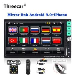 """2 din rádio do carro 7 """"hd tela de toque jogador mirrorlink android 9 iphone mp5/sd/fm/mp4/usb/aux/bluetooth áudio do carro automático para a câmera"""