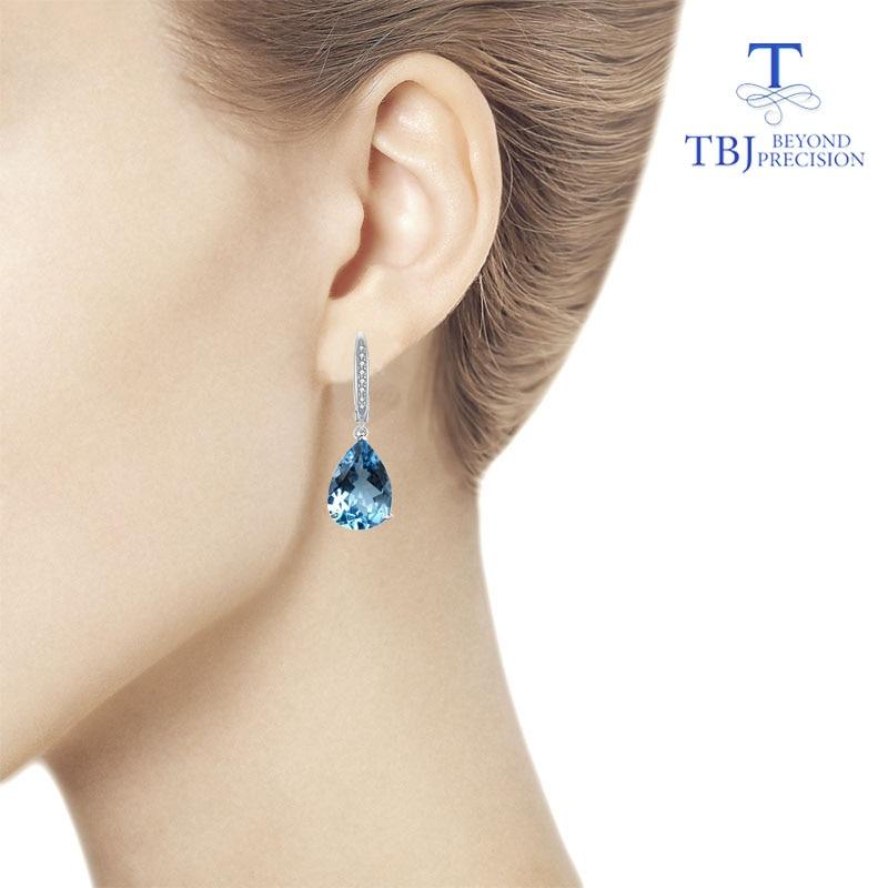 TBJ,Natural Sky blue topaz big Water Drop 12*16mm good clasp Earrings Pure 925 Sterling Silver Fine Jewelry For Women daily wear