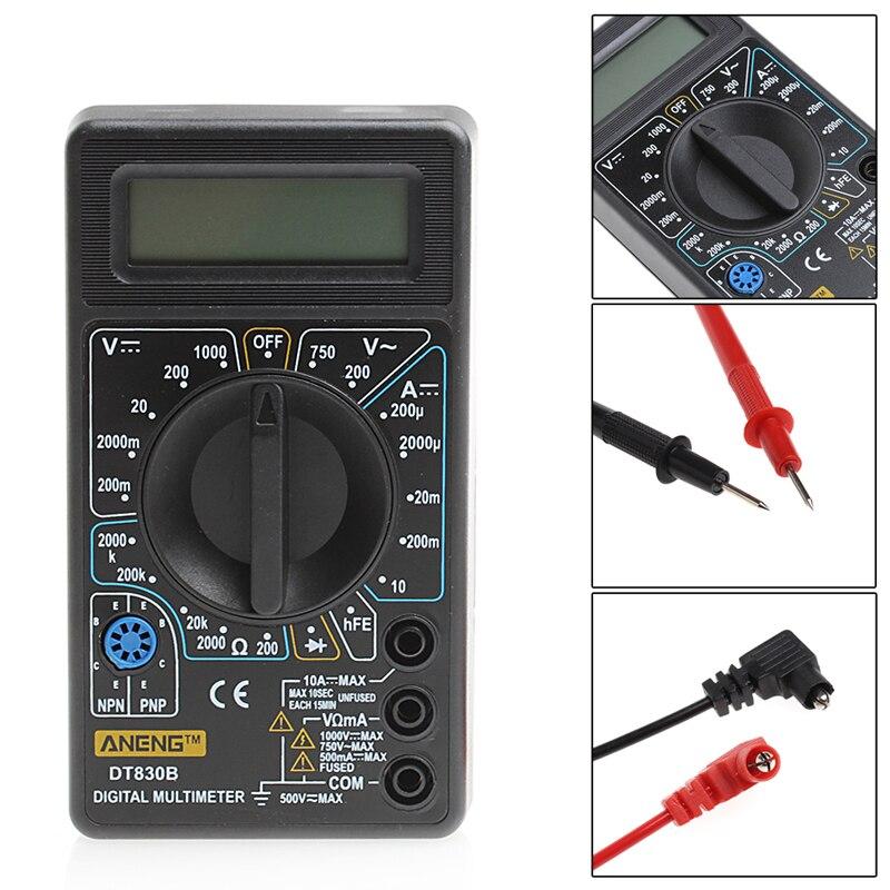 DT-830 Mini multímetro Digital LCD Multimetro para Volt Amp Ohm Tester medidor voltímetro amperímetro protección de sobrecarga con sonda
