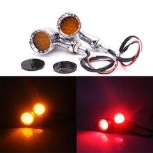 Moto 1 paire de phare clignotant chromé   Noir, 10mm, clignotant, clignotant, Signal de virage, pour Harley Cruiser, voyant de hachoir