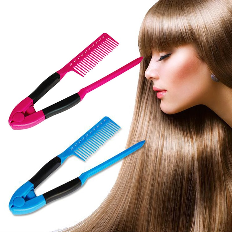 2019 Fashion Hair Combs V Type Hair Straightener Comb DIY Salon Haircut Hairdressing Styling Tool An