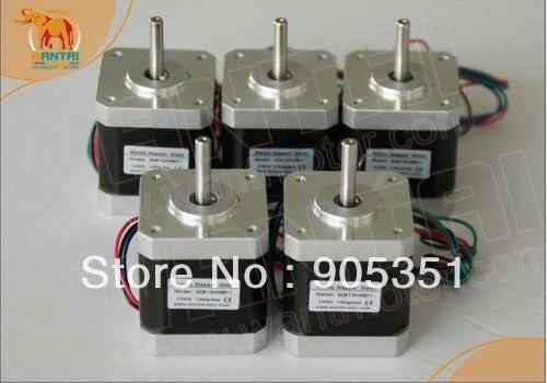 ¡Alta calidad! 5 uds CNC Nema17 para 12VDC... 2800g cm 34mm de longitud, 4-plomo Wantai Motor paso a paso