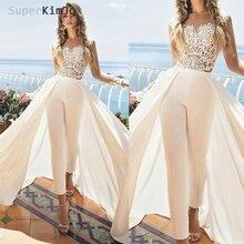 SuperKimJo dentelle appliques combinaisons pour femmes 2020 jupe détachable élégant pas cher pantalon pour mariages Vestido De Festa